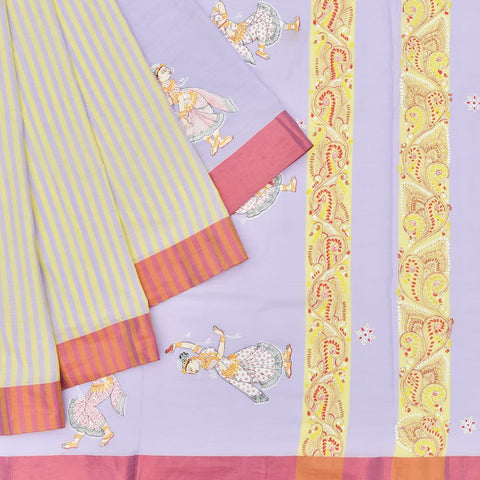 Multicoloured Saree with handpainted Pattachitra art