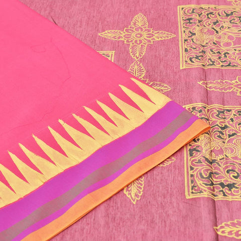 MultiPink Saree with handpainted Pattachitra art
