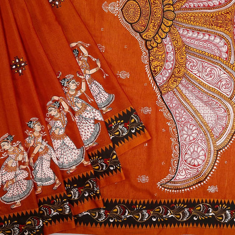 Orissa Cotton Rust Saree with Pattachitra Pattern