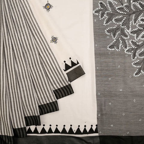 Orissa Cotton Silk Black and White Saree with Pattachitra Pattern