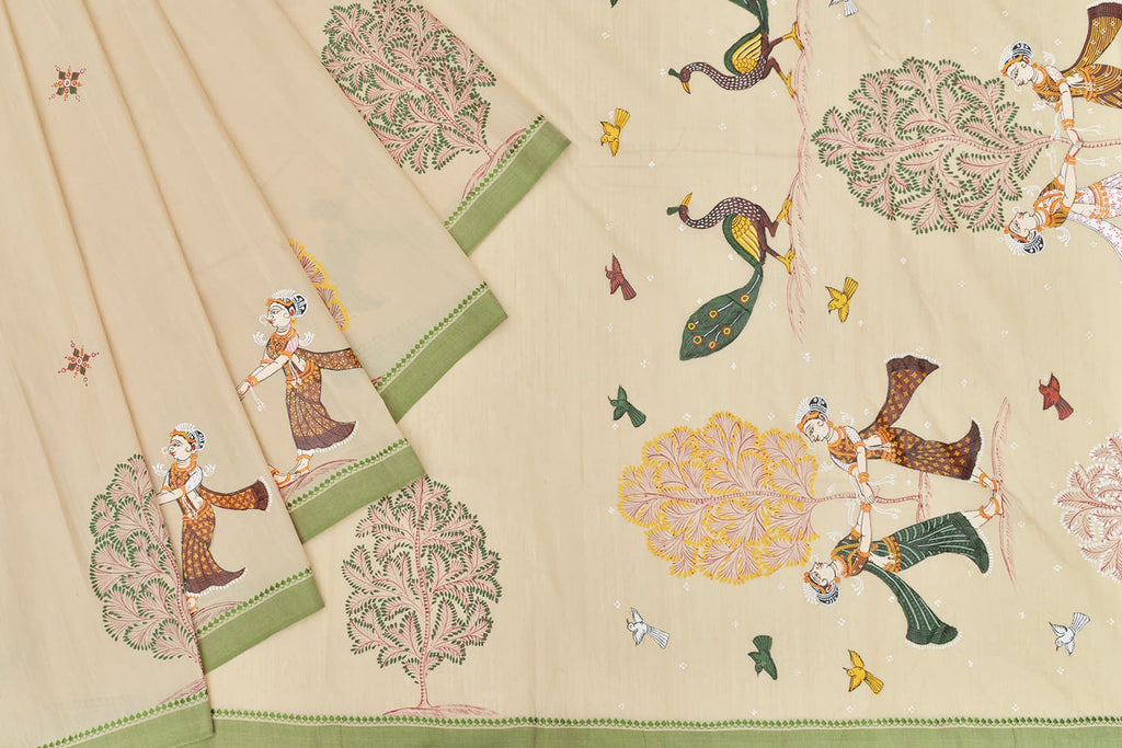Beige Bapta cotton Saree with handpainted pattachitra art