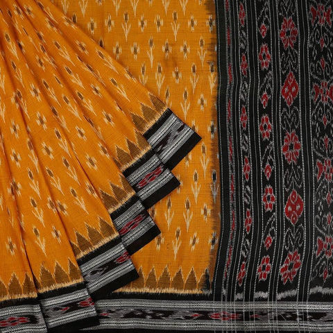 Orissa Cotton Golden Saree with Pattachitra Pattern