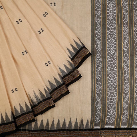 Orissa Bapta Cotton Beige Saree with Pattachitra Pattern