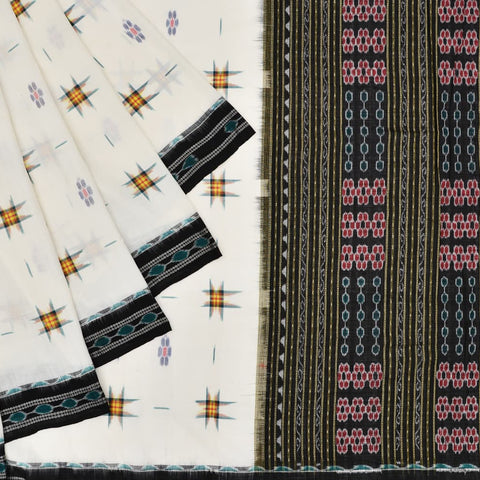 Offwhite Cotton Sambalpuri Ikkat Saree with Pasapalli motifs