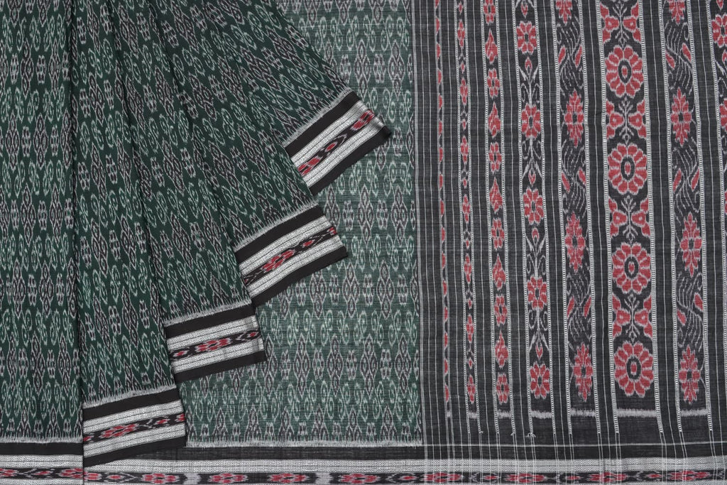 floral Cotton Green black sambalpuri pallu Saree