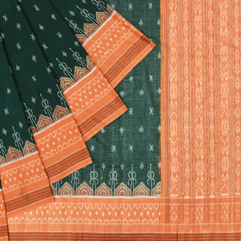 Green and Peach Cotton Sambalpuri Ikkat Saree