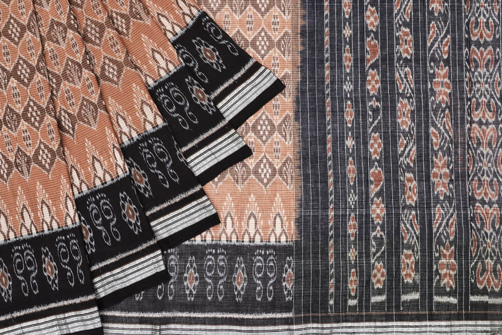 Brown and Black Cotton Sambalpuri Ikkat Saree