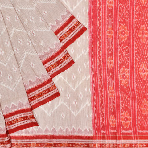 Lightbrown with Red Cotton Sambalpuri Ikkat Saree