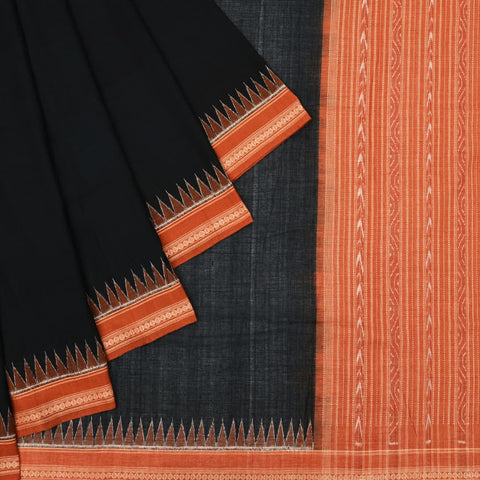 Black and Rust Odisha Sambalpuri Ikkat Cotton Saree