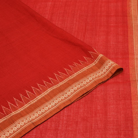Maron and Rust Odisha Sambalpuri Ikkat Cotton Saree