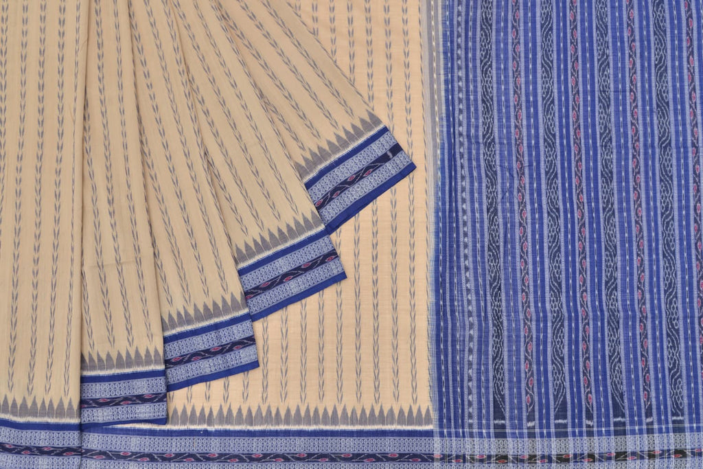 blue stripes Cotton blue sambalpuri pallu Saree