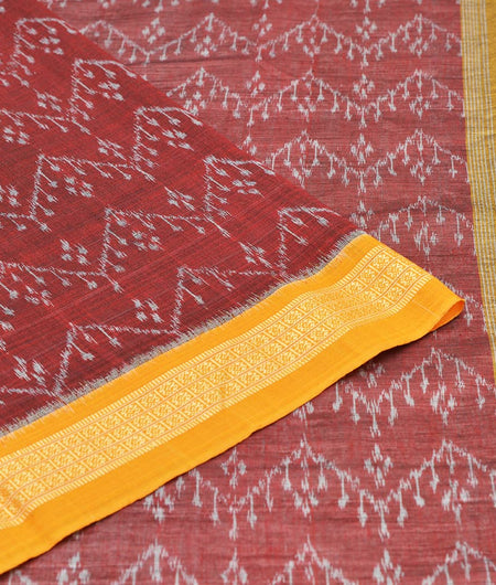 Maroon Cotton Sambalpuri Ikkat Saree