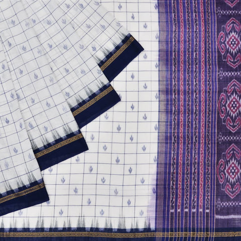 White and Blue Odisha Sambalpuri Ikkat Cotton Saree