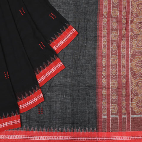 Black Odisha Sambalpuri Ikkat Cotton Saree