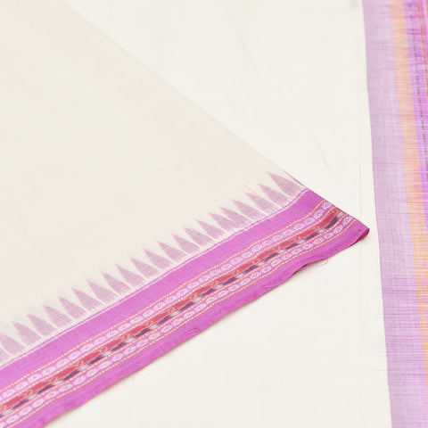 White and Purple Odisha Sambalpuri Ikkat Cotton Saree