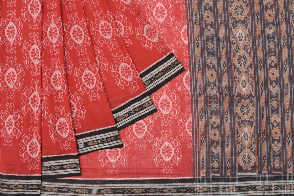 floral Cotton black sambalpuri pallu Saree