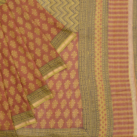 Chanderi beige and brown zig zag and floral Pattern Saree