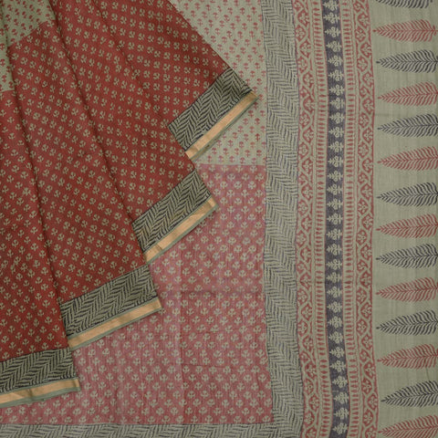 Chanderi grey and maroon floral Pattern Saree