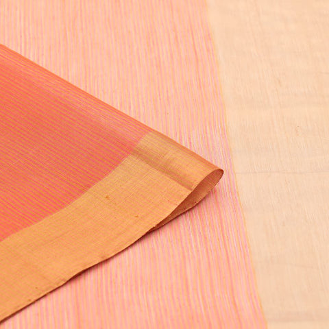 Chanderi Orange Stripes Pattern Saree