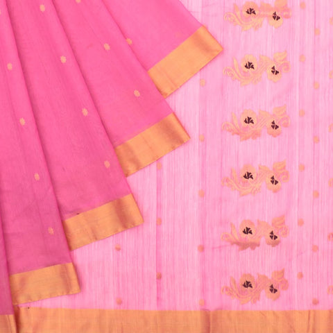 Chanderi Pink Butti Pattern Saree