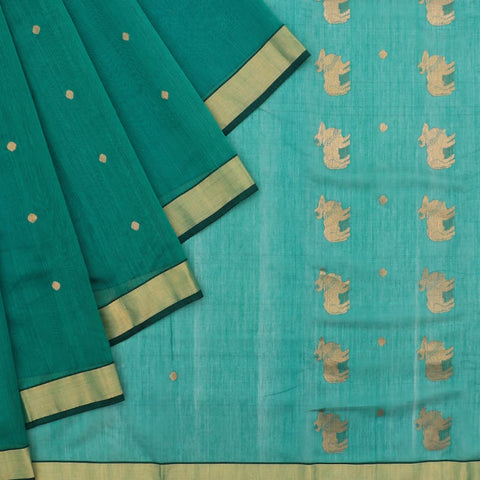 Chanderi Green Butti Pattern Saree