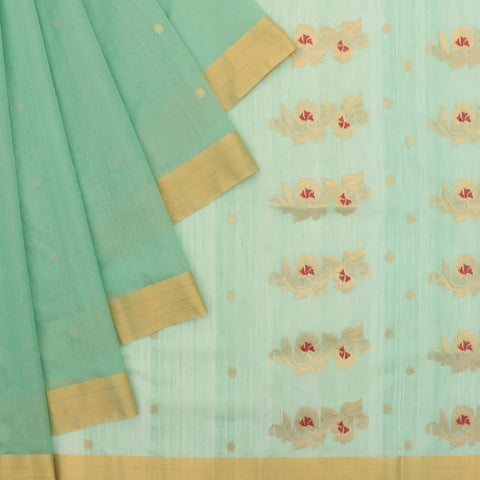 Chanderi Light Pista Green Butti Pattern Saree
