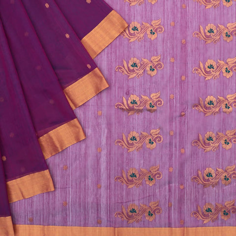 Chanderi Purple Butti Pattern Saree