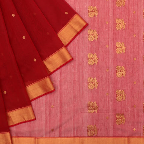 Chanderi Maroon Butti Pattern Saree