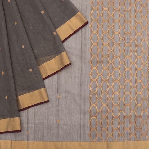 Chanderi Grey Jaal Pattern Saree