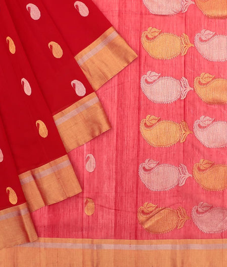 Chanderi Red Mango Pattern Saree
