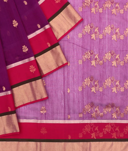 Chanderi Purple Paithani Pattern Saree