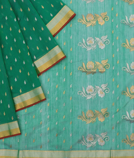 Chanderi Green Small Butta Pattern Saree