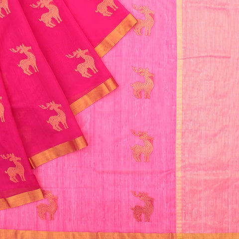 Chanderi Pink Deer Pattern Saree