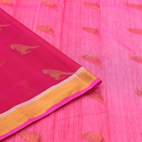 Chanderi Pink Parrot Pattern Saree