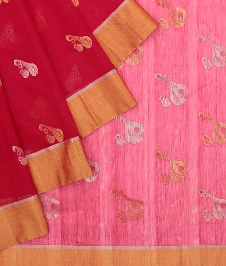 Chanderi Pink Instrumental Pattern Saree