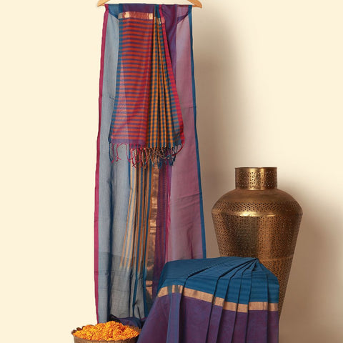 Khadi Blue Purple Tissue Silk Saree