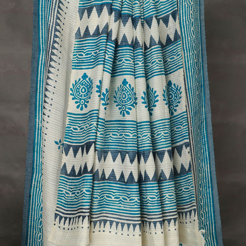 Khadi Cream Mulberry Silk Saree