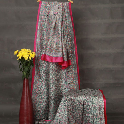 Khadi Silver Grey Mulberry Silk Madhubani Saree