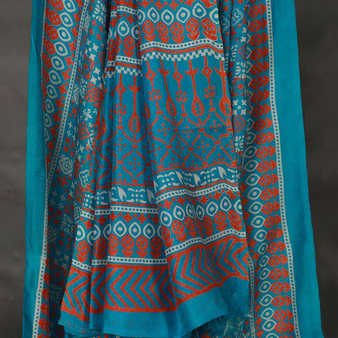 Khadi Blue Mulberry Silk Saree