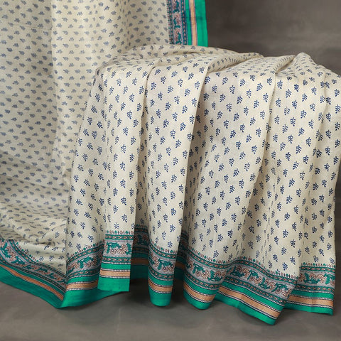 Khadi White Mulberry Silk Saree
