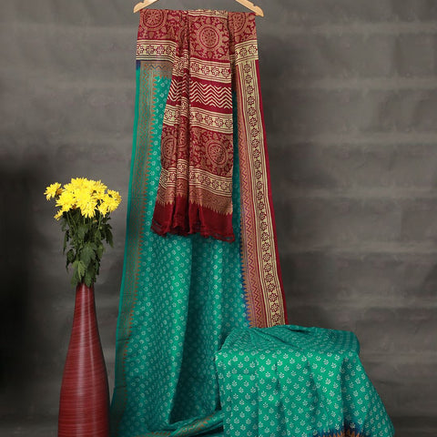 Khadi Rama Green Mulberry Silk Saree
