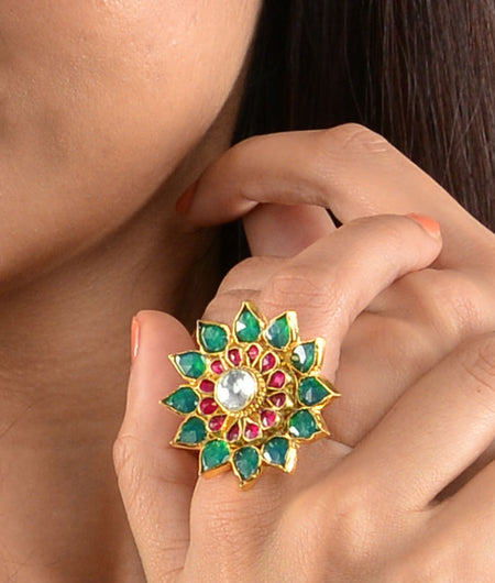 Red And Green Flower Ring