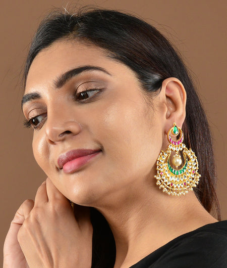 Pink And Green Chaand Earrings