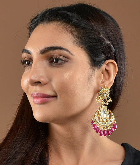 Jadtar Earrings With Pink Hangings