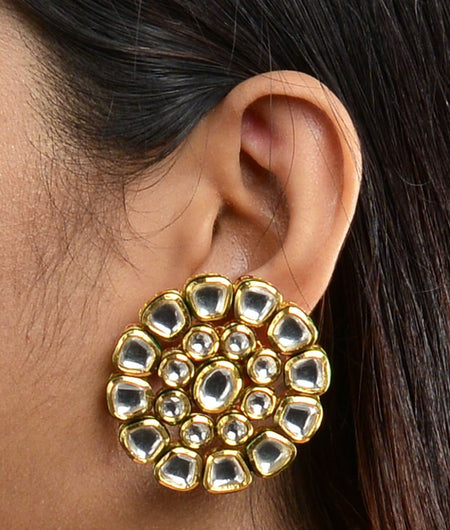 Big Stud Plain Kundan Earings