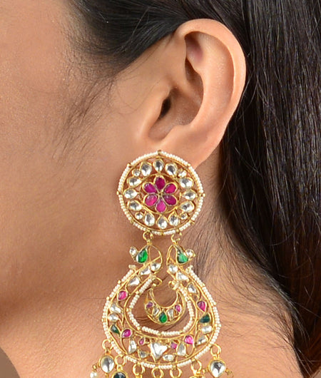 Jodhpur Style Pink and Green Chand Baalis
