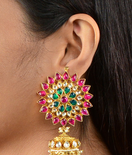 Small Stone Floral Pink Big Tops With Jhumkis