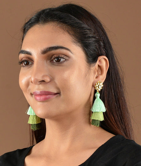 Green Tassel Earrings With Jadtar Flower Top