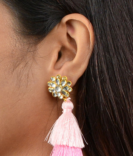 Pink Tassel Earrings With Jadtar Flower Top