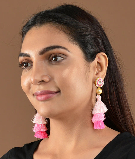 Pink Tassel Earrings With Painted Meena Work